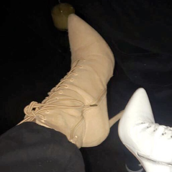 c8aa094993c Lola Shoetique Shoes - Nude tie up pointed yeezy style booties